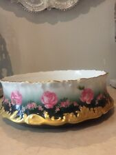 ANTIQUE Limoges Handpainted T&V Tressemanes & Vogt LARGE Bowl Centerpiece ROSES