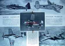 1944 NORTH AMERICAN WW2 Airplanes Advert Liberator, Mustang etc - Photo Print Ad