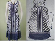 NWT LUCKY BRAND Sz.M Paisley/Border Print Tassel Belt BOHO Peasant Dress SOFT!