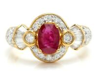 2.00 Carat Natural Red Ruby and Diamonds in 14K Solid Yellow Gold Ring
