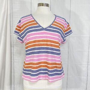 Madewell Women's M Top Cotton Blend Pink Blue Striped Tee #BB