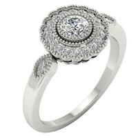 SI1 G 1.05 Ct Natural Diamond Solitaire Halo Milgrain Engagement Ring 14K Gold