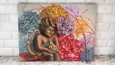 Vintage Oil Painting of an angel (on canvas) - unusual - great colors - unsigned