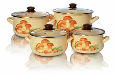 Enamel Cookware Set Casserole Pots Lid 8 Pcs Soup Stockpot Mushroom Cream Pan