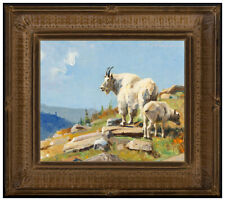 Luke Frazier Oil Painting on Board Signed Glacier Landscape Goat Original Animal