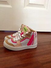 MAA JCREW Crewcuts high-tops sneakers with side zip Sz.10.5 (27) PINK WHITE