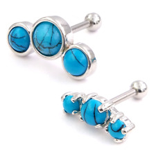 New Surgical Steel Triple Natural Turquoise Stone Tragus Earring Stud 16g