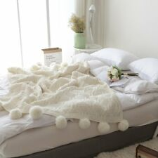 Cream Pom Pom Plush Throw Blanket Luxurious Lovely Lounge Cover Knitted Blanket