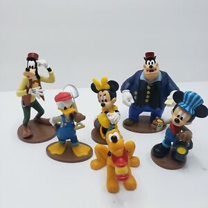 Disney Mickey Mouse Minnie Donald Duck Goofy Pete Railroad Lot Toy PVC Cake Top