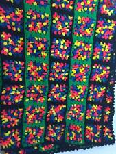 Granny Square Multi Colored Afghan Quilt Handmade Size 60x50