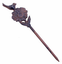 "Garden Hose Guide Bird On Daisy Cast Iron Decorative Garden Stake 12.625"" Tall N"