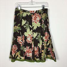 Dressbarn Womens Skirt Brown Floral Size 8 Side Zip Cotton Stretch