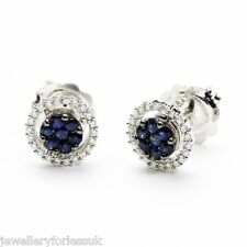 18Carat White Gold Natural Sapphire & Diamond Halo Cluster Stud Earrings 0.35ct