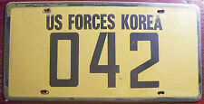 1970s-1980s U.S. FORCES IN KOREA MILITARY ARMY LICENSE PLATE UNITED STATES # 042
