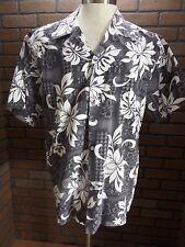 MEN's Howie Made in Hawaii Gray Floral Hawaiian casual short sleeve Aloha sz L