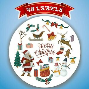 48x Merry Christmas Xmas Decorating Present Seals GiftLabels Stickers 45mm SNP23