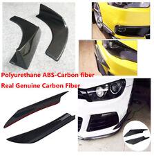 Wing Type Real Carbon Fiber Car Front Bumper Body Spoiler + Bumper Splitters