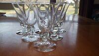 Vintage Clear Glass Wine glass small clove stem flared bowl 6 4 oz elegant stems