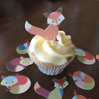 18 CUTE FOX STAND UP EDIBLE CUPCAKE TOPPERS PREMIUM WAFER CARD CUT OR UNCUT