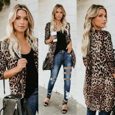 Women Casual Leopard Print Cardigan Jacket Coat Button Outwear Thin Tops Blouses