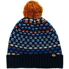 ANIMAL Mens Geometric Navy Blue Fleece Lined Pom Pom Beanie Hat One Size > BNWT