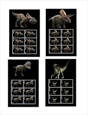 PREHISTORIC LIFE DINOSAURS  4 S/SHEETS MNH IMPERFORATED t-rex