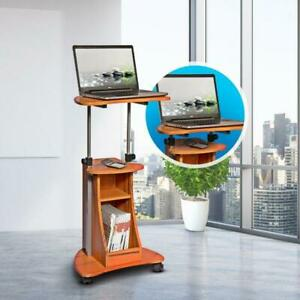 Rolling Adjustable Laptop Cart - Wood Grain