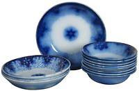 12 Antique Utzschneider & Co German Porcelain Flow Blue Persian Moss Bowls