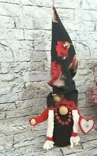 Gnome Girl Red Roses Love Tomte Plush Scandinavian Gift Poseable Arms