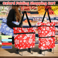 Oxford Folding Shopping Trolley Bag with Wheel Protable Cart Handcart Market
