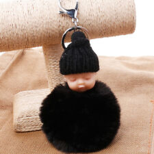 Black Sleeping Baby Knitted Hat Fluffy Ball Keychain Key Ring Pandent Bag Decor