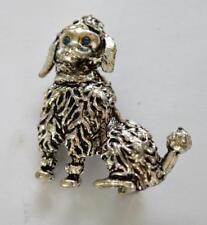 Vintage Silvertone Rhinestones Eyes Poodle Dog Shape Pin Brooch