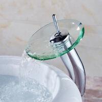 "12"" Waterfall Glass Single Handle Hole Chrome Bathroom Basin Taps Faucet Sink"