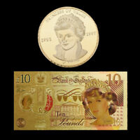 WR 24K Colored Princess Diana £10 Pound GOLD Note & Coin Set Birthdays Gift Her