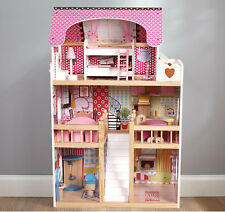 Dolls House Wooden Dollhouse With 17PCS Furniture & Staircase Toys Set 3 Story
