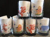 """4+2 6 Winnie The Pooh DRINKING GLASSES TUMBLERS Flowers TIGGER EEYORE PIGLET 4"""""""