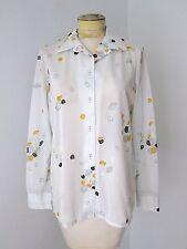 Nos Vtg 70s Trissi Mod Sheer Gray Poly Knit Blouse Top Black Yellow Shells L