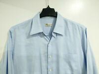 PETER MILLAR Crown Soft Men's L Large Long Sleeve Button Shirt Cotton Silk Blue