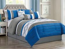 7-Pc Kavik Geometric Diamond Embroidery Comforter Set Blue Gray Off-White Queen
