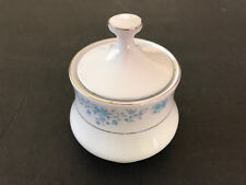 China Pearl HELEN Blue Flowers, Platinum Trim - LIDDED SUGAR BOWL