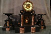 Grande garniture de cheminée pendule paire de cassolettes marbre Napoléon 3