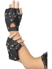 Punk Gloves Black Studded Adult Unisex Smiffys Fancy Dress Costume Accessory