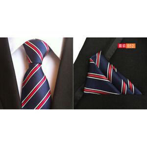 Men White Red Stripe Navy Blue Silk Tie Match Pocket Square Set Lot HZBWT101