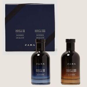 ZARA NIGHT POUR HOMME II + III * 2 x 3.4 oz (100ml) EDP Spray NEW & SEALED