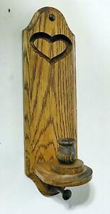 ONE Handmade Wooden Wall Mounted Sconce Candle Holder Heart