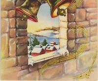 VINTAGE CHRISTMAS CHURCH BELLS MUSIC NOTES STONE ARCH VILLAGE CHURCH CARD PRINT