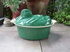 Rare Vintage LE CREUSET Enamel Cast Iron Green DUCK Terrine Dutch Oven Cookware