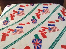 Rare VTG 80s United Colors Of Benetton Flags Quilted Twin Bedspread Comforter