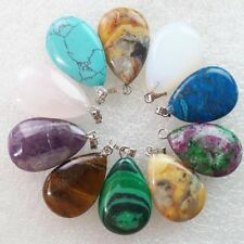 10pcs Mixed Gemstone Flat Teardrop Pendant Bead 25x16x5mm