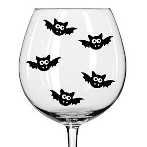 HALLOWEEN BATS SPOOKY BLACK VINYL STICKERS FOR WINE GLASS X 4